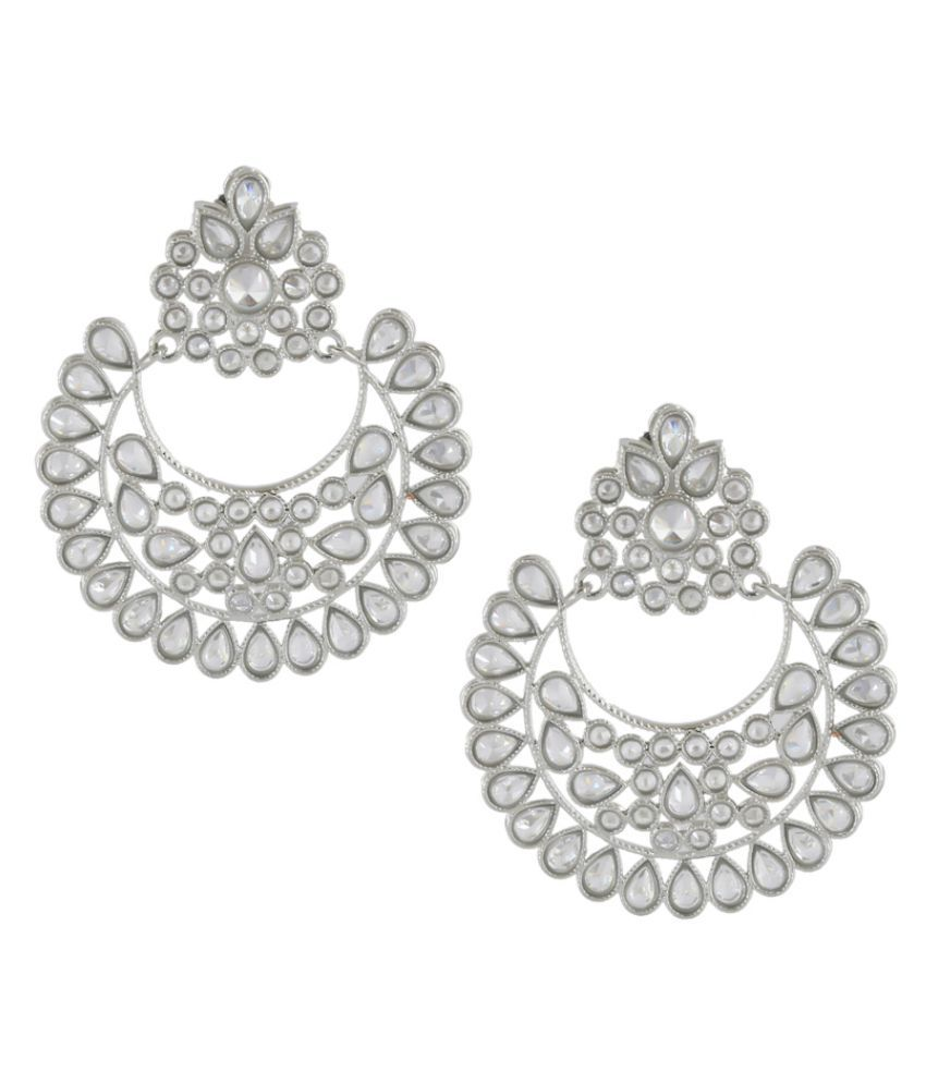 Anuradha Art Silver Tone Studded Shimmering Stone Party Wear Earrings For Women