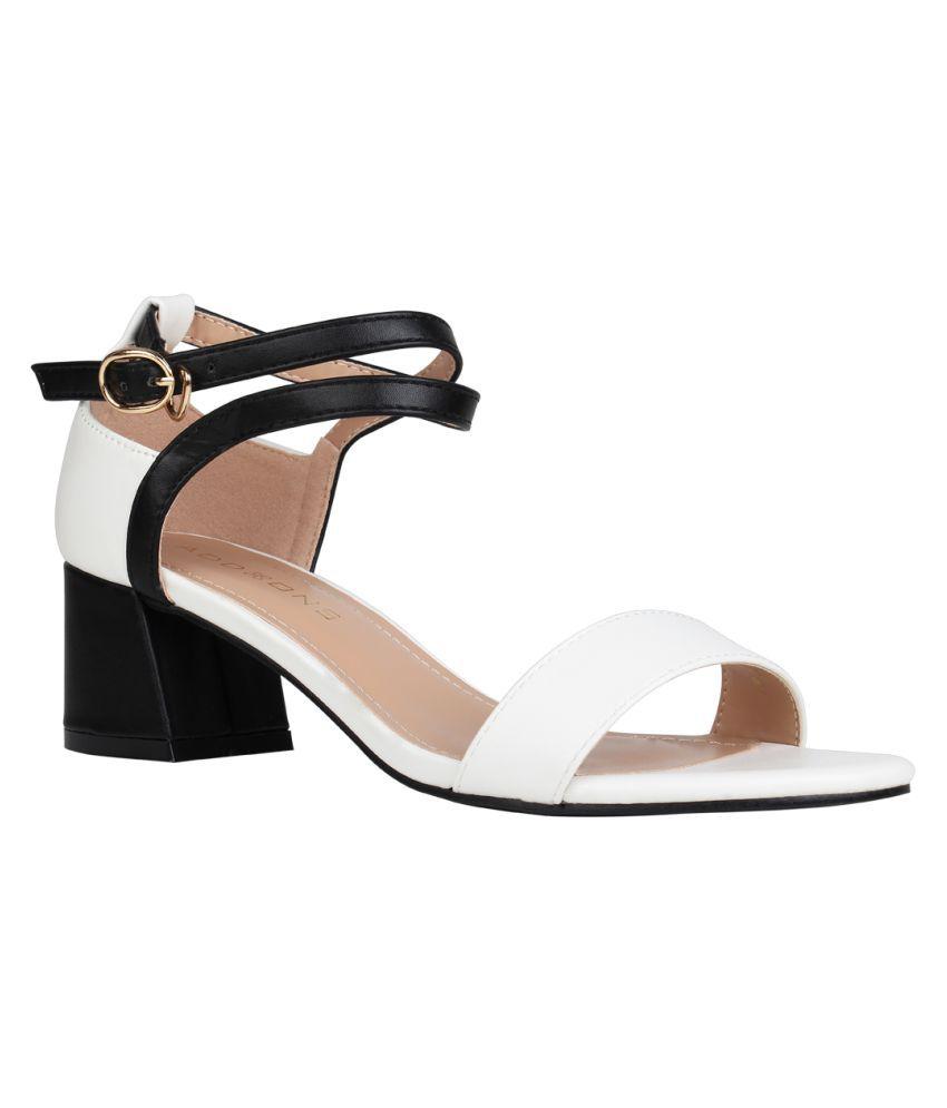 Addons White Block Heels