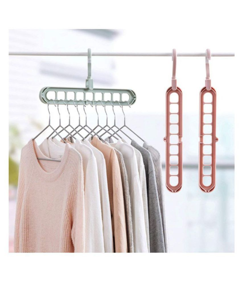 Everbuy  Set OF 2  360 Degree Swivel Hook  9 Holes Design Space Saver Anti Skid Plastic Hangers for Clothes Wardrobe