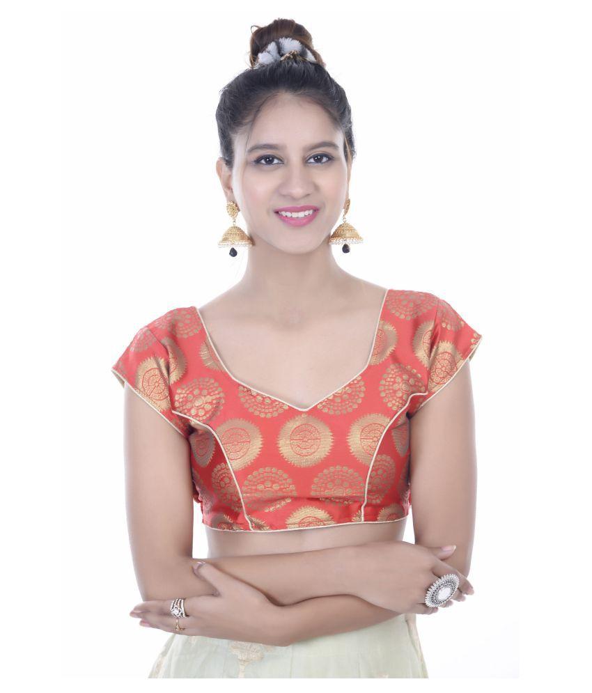 Daniya Trends Red Silk Readymade with Pad Blouse