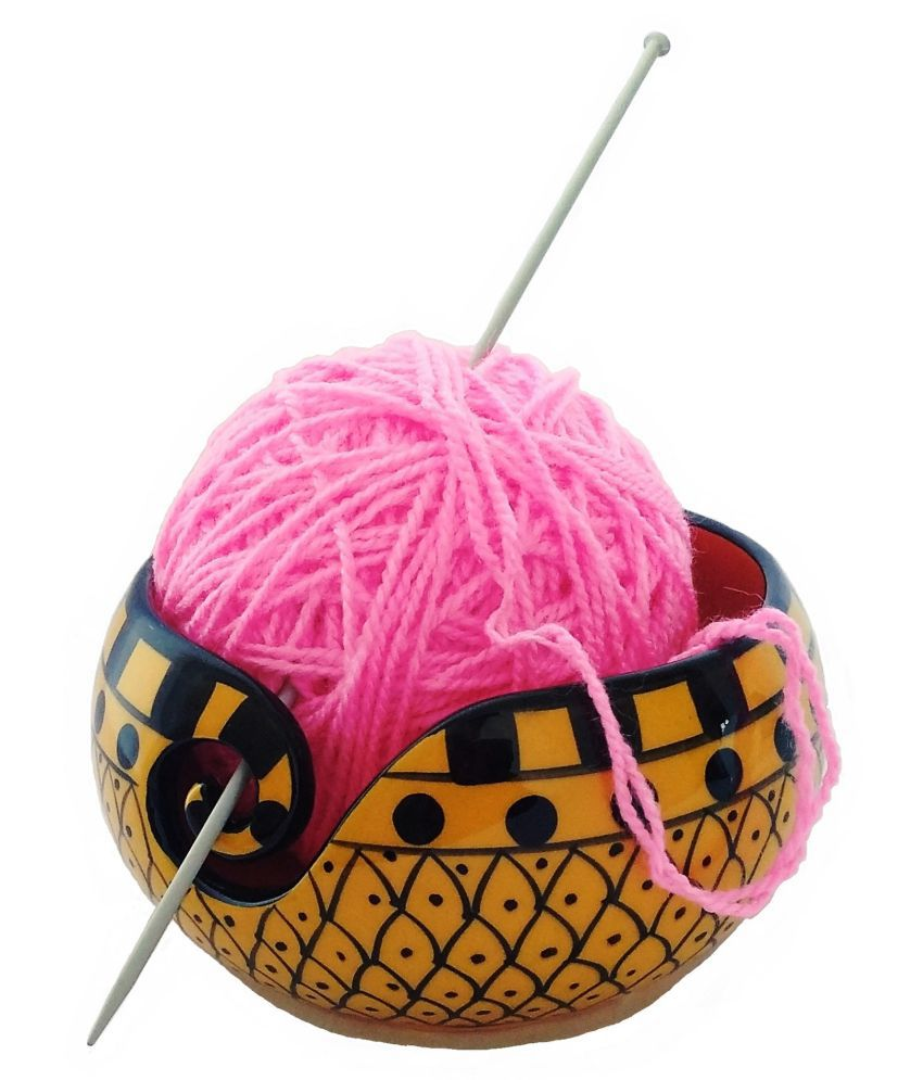 Handcrafted Yellow Curry Ceramic Knitting Yarn Bowl Holder, Crochet for Moms & Grandmothers, Gifts for her