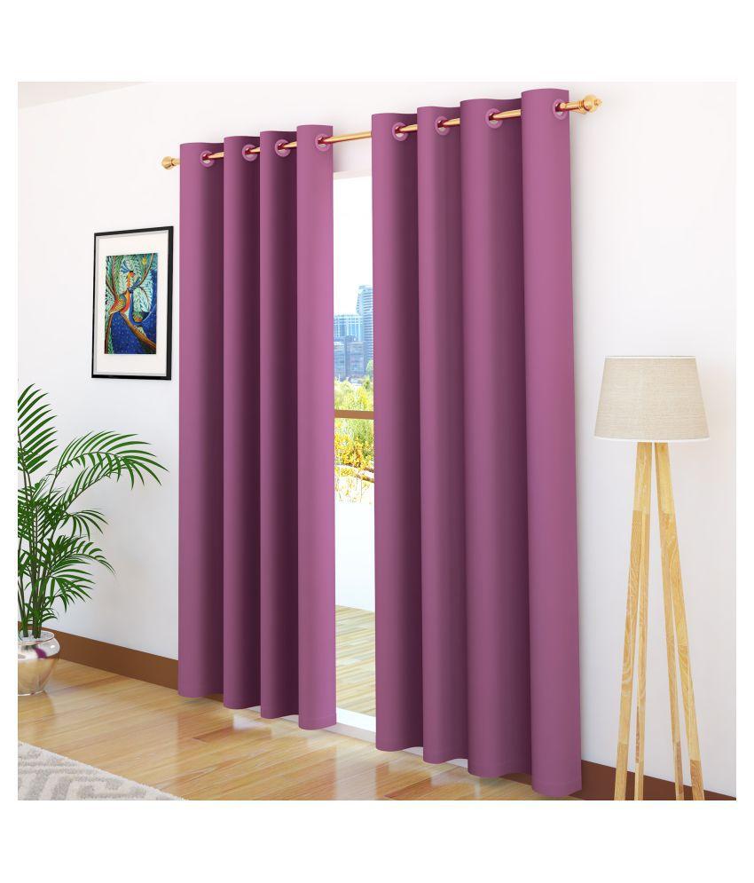 Story@Home Set of 2 Door Blackout Room Darkening Eyelet Silk Curtains Magenta