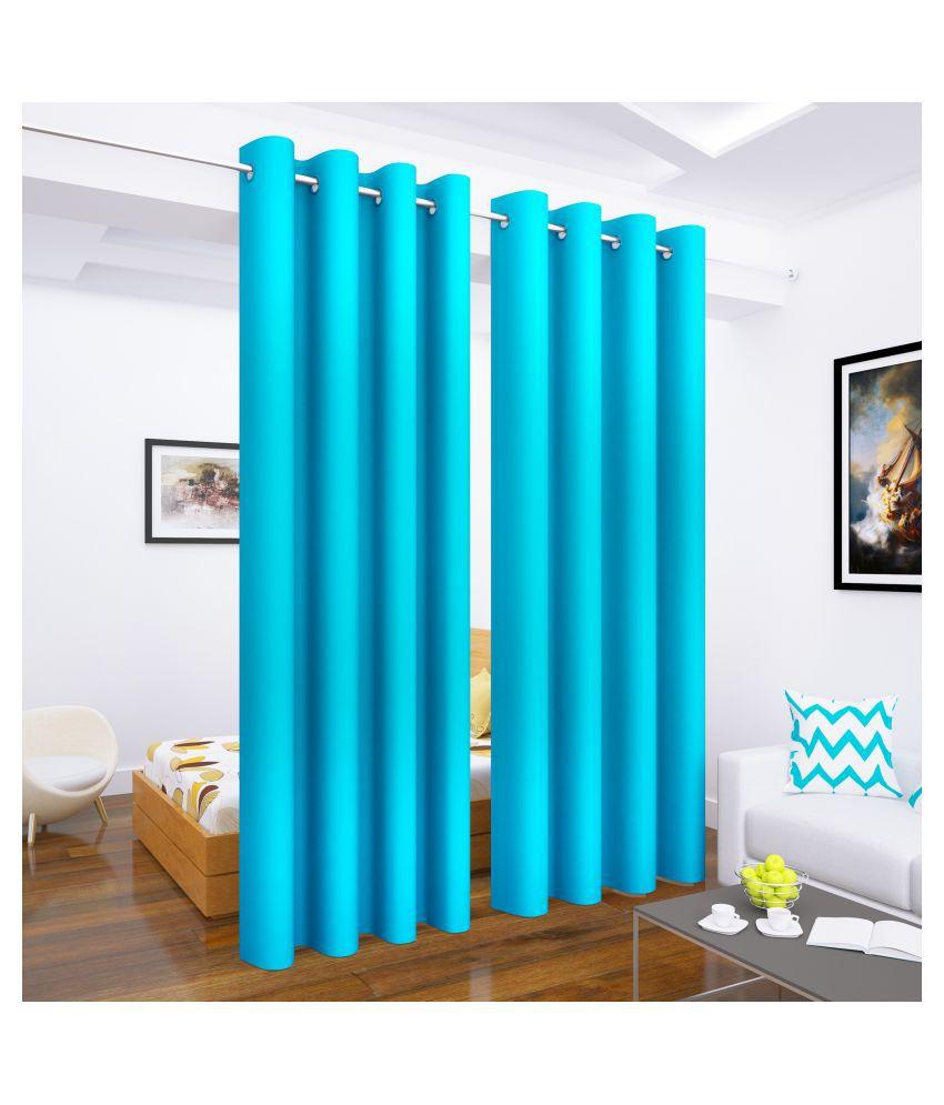 Story@Home Set of 2 Long Door Blackout Room Darkening Eyelet Silk Curtains Blue
