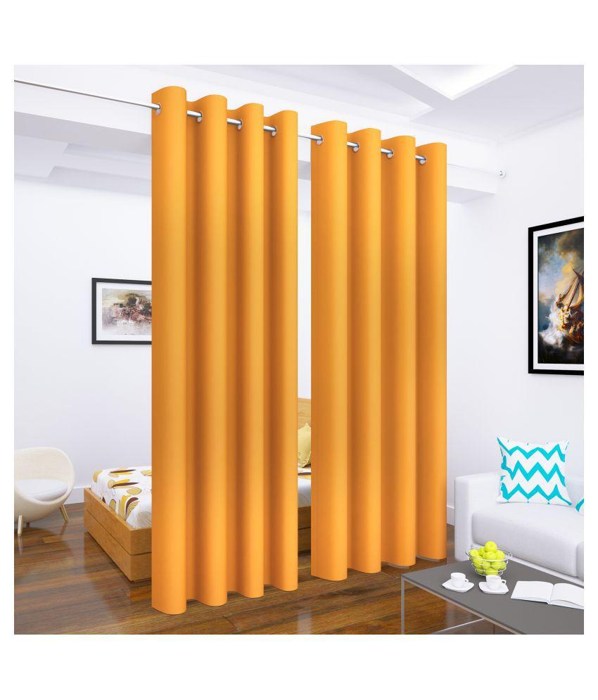 Story@Home Set of 2 Long Door Blackout Room Darkening Eyelet Silk Curtains Mustard