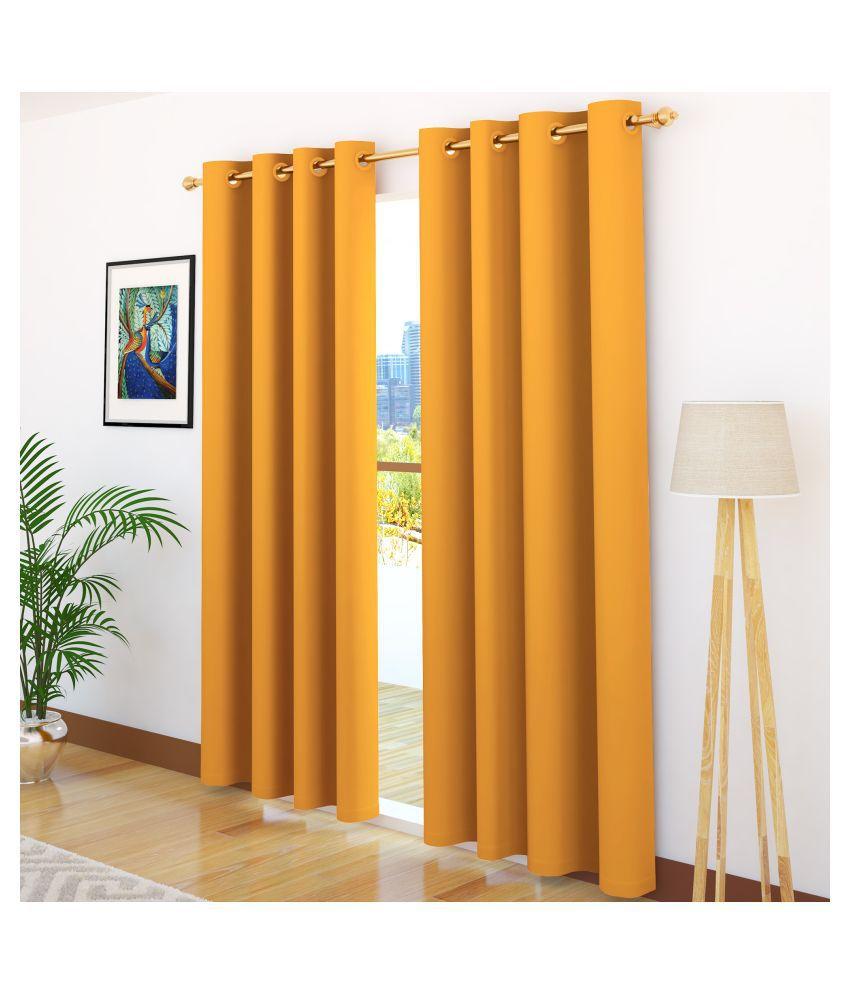 Story@Home Set of 2 Door Blackout Room Darkening Eyelet Silk Curtains Mustard