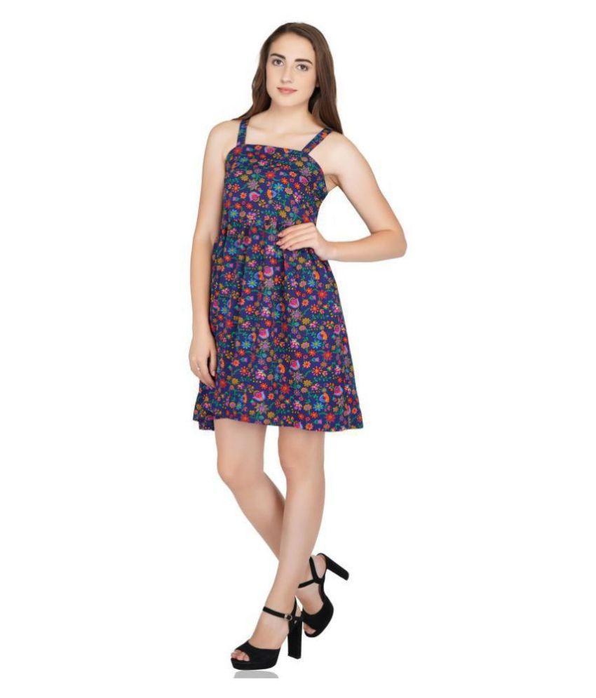 POPWINGS Polyester Blue Skater Dress