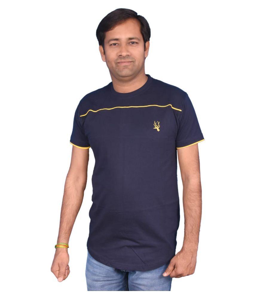 humanistic Cotton Blend Blue Self Design T-Shirt