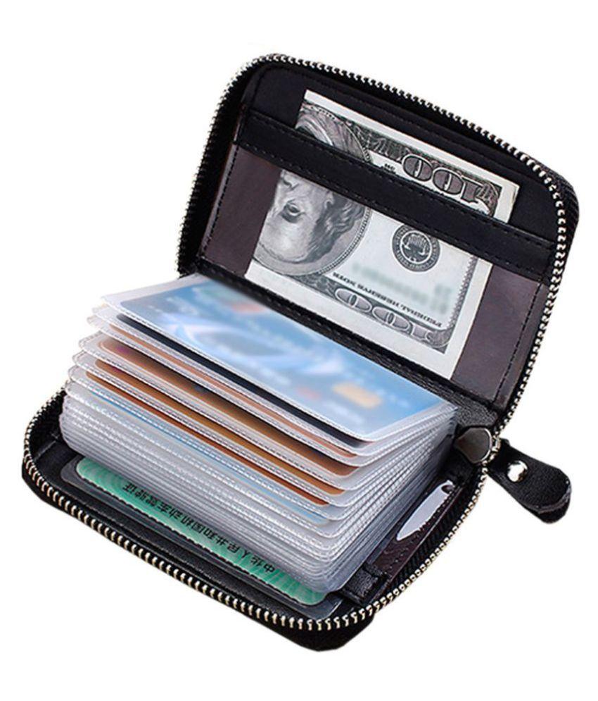 Hide&Sleek RFID Protected Black Genuine Leather Card Holder Zipper Clouser