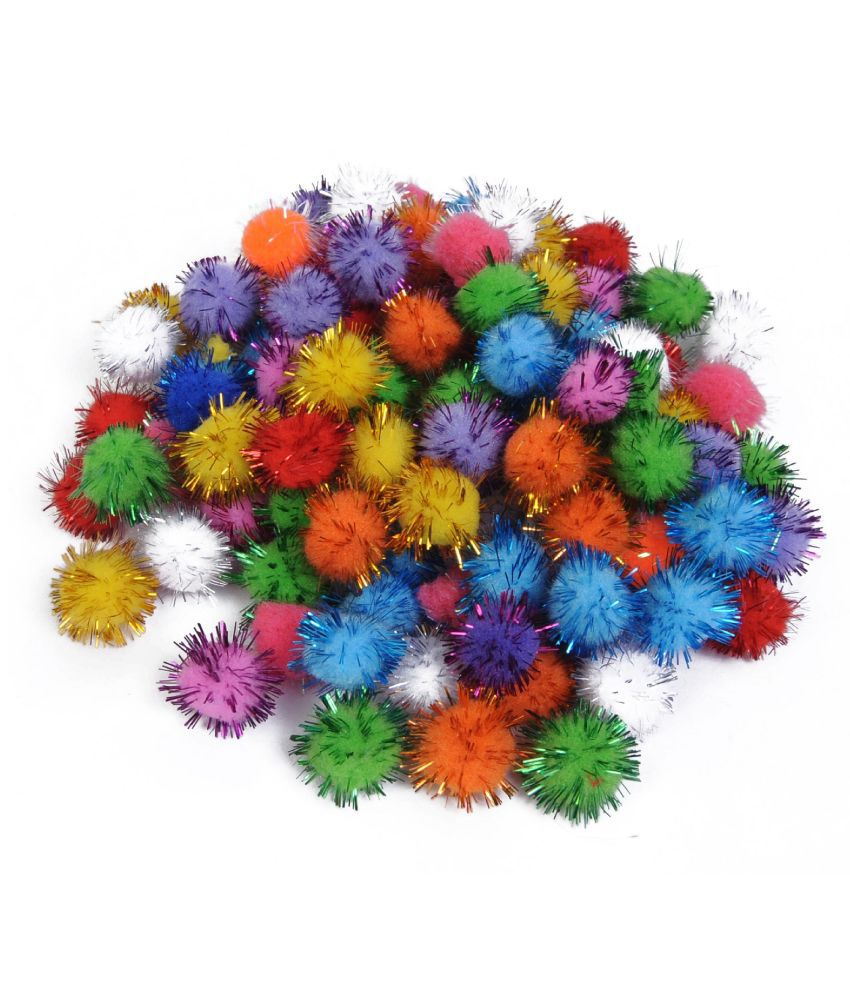 Multicolored Glitter Pom Pom Balls , dia- 2 cm, Pack of 100, Used for Art & Craft, Dresses, Room Decoration, Jewelry Making etc