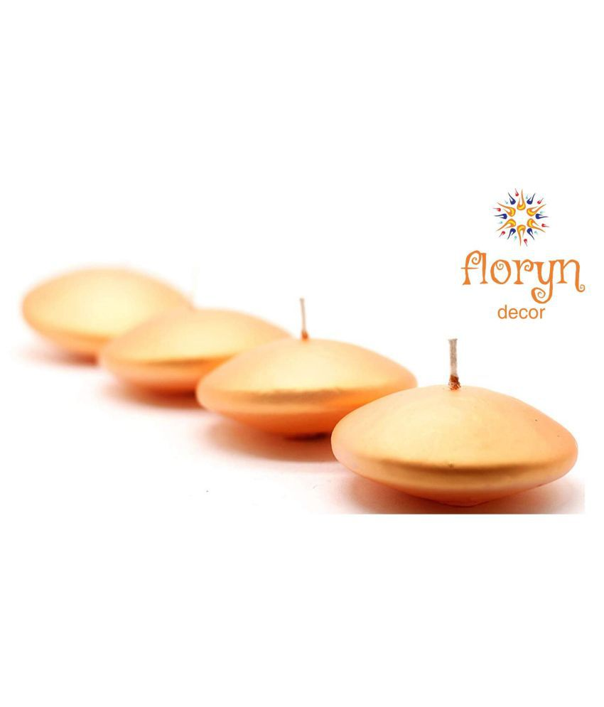 Floryn decor Gold Floating Candle - Pack of 4