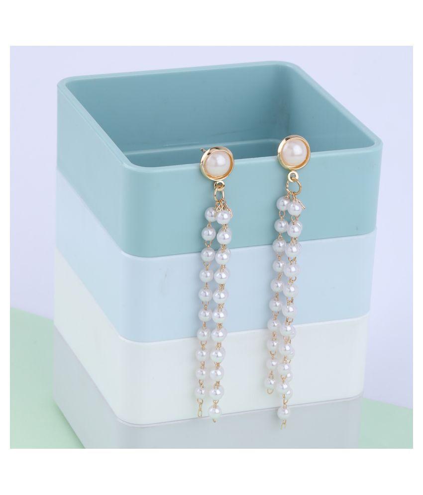 SILVER SHINE Party Wear Stylish Pearl hanging Dangle Earring For Women Girl