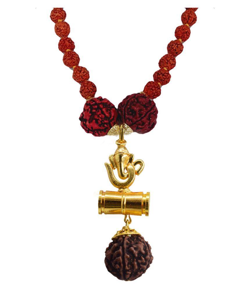 Men Style Religious Jewellery Om Lord Ganesh Gold Brown Brass Wood Locket With Rudraksha Mala