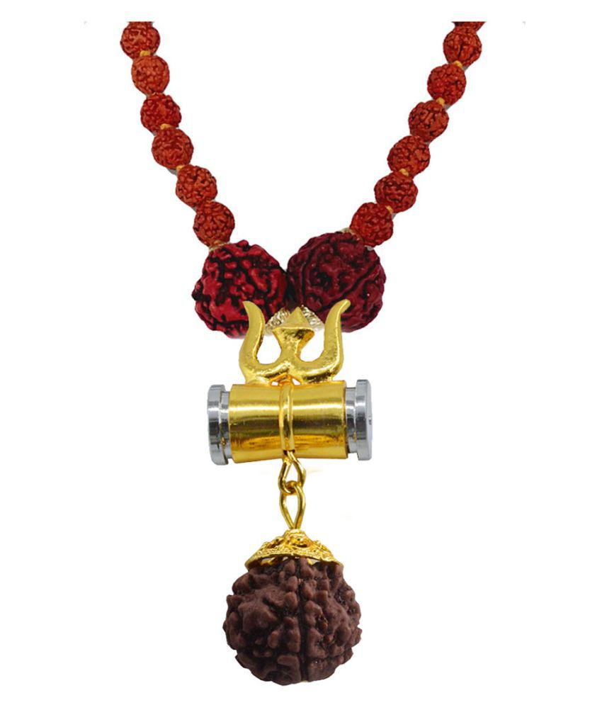 Men Style Religious Jewellery Trishul Damru Gold Silver Brown Brass Wood Locket With Rudraksha Mala