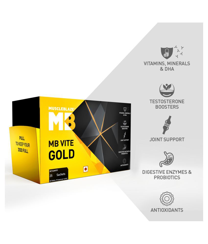 MuscleBlaze MB Vite Gold with Vitamins, Minerals, Joint Support, Testosterone Boosters, Probiotics, Antioxidants (125 Tablets) 125 no.s Unflavoured Multivitamins Capsule