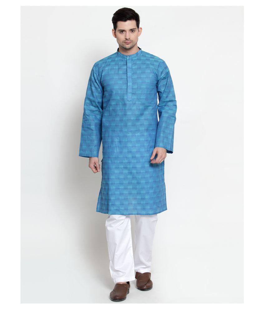 NEUDIS Blue Cotton Kurta Pyjama Set Single Pack