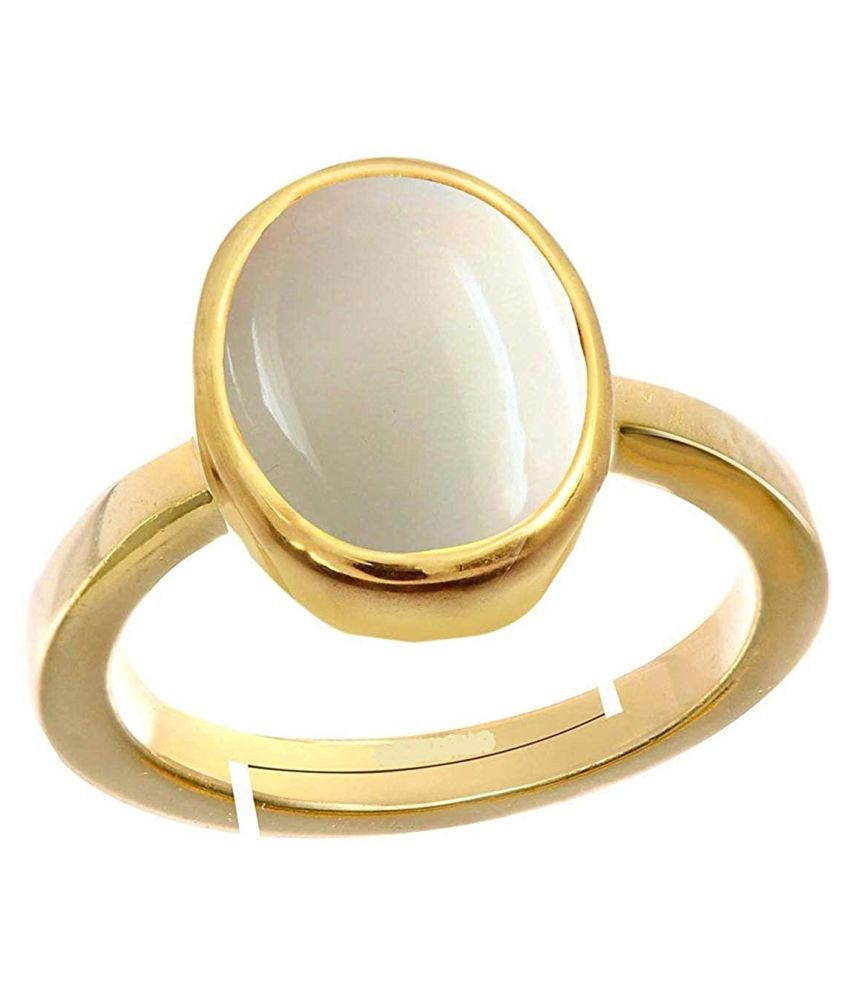 Todani Jems White Opal 8.25 Ratti 7.62 Carat Certified Opal Astrological Gemstone gold + Matel Ring for Women and Men Adjustable.