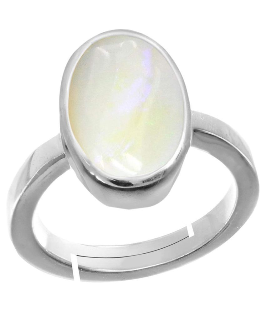 Laxmi Gems 10.25 Ratti 9.62Carat  Natural Certified White Opal Astrological Gemstone Silver Ring for Women and Men Silver +White Matel Adjustable.