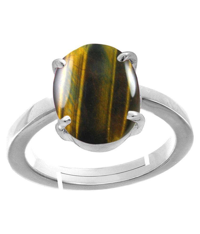 Laxmi Gems 8.25 Ratti 7.62 Carat  Crystal Natural Silver + White Matel Tiger's Eye Adjustable Ring For Man & Women