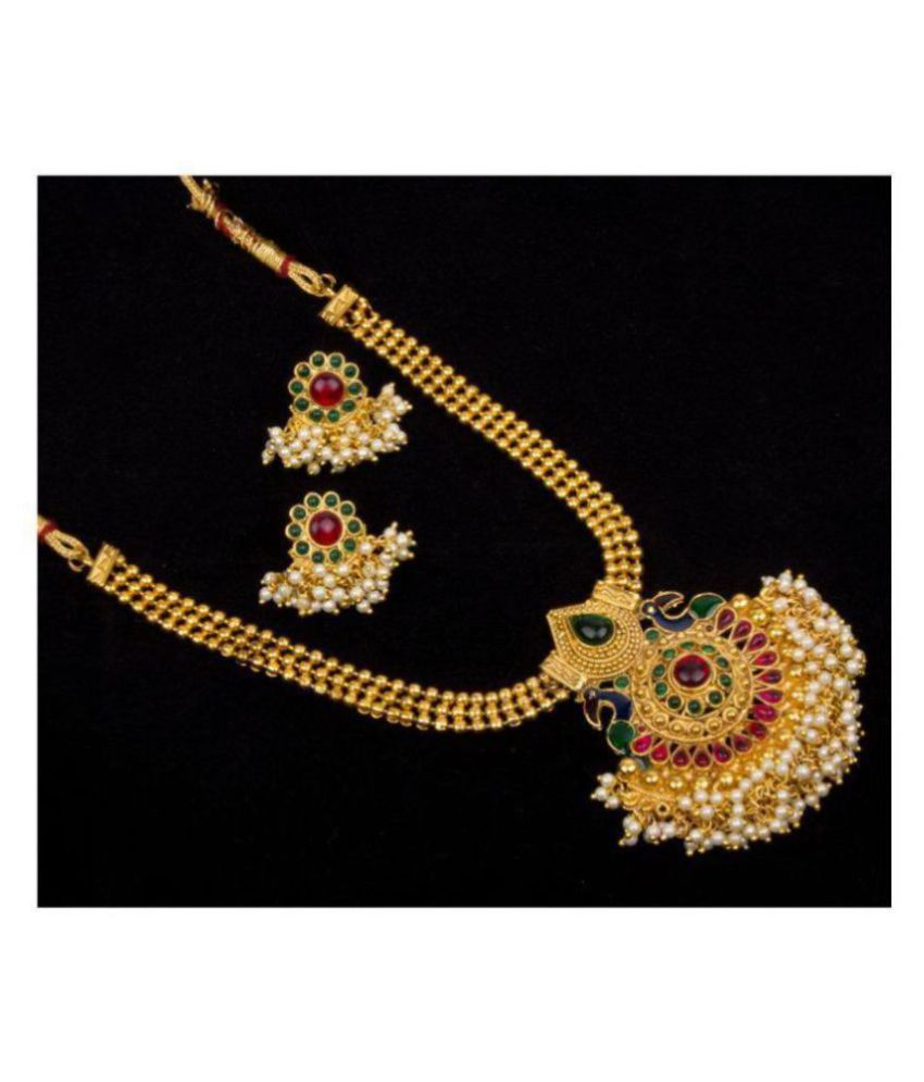 Piah Alloy Golden Collar Traditional Gold Plated Necklaces Set