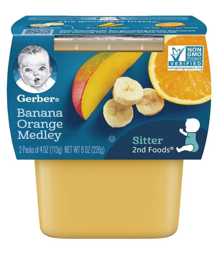 Gerber Banana , Orange Snack Foods for 6 Months + ( 226 gm ) Pack of 2