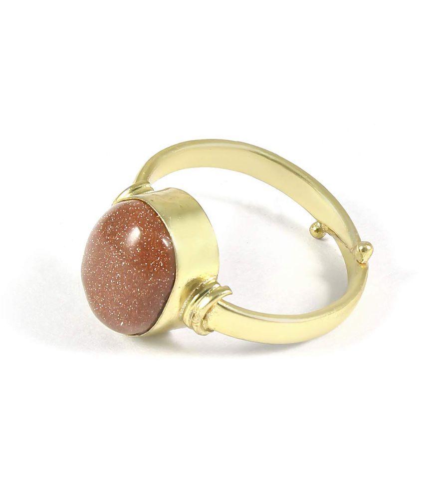Laxmi Gems 10.25 Ratti 9.62Carat Certified Natural Sunstone Sunsitara Golden Panchdhatu Adjustable Ring for Men and Women