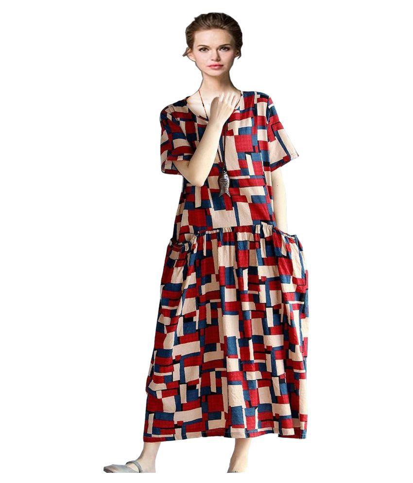 Ritsila Cotton Multi Color Fit And Flare Dress