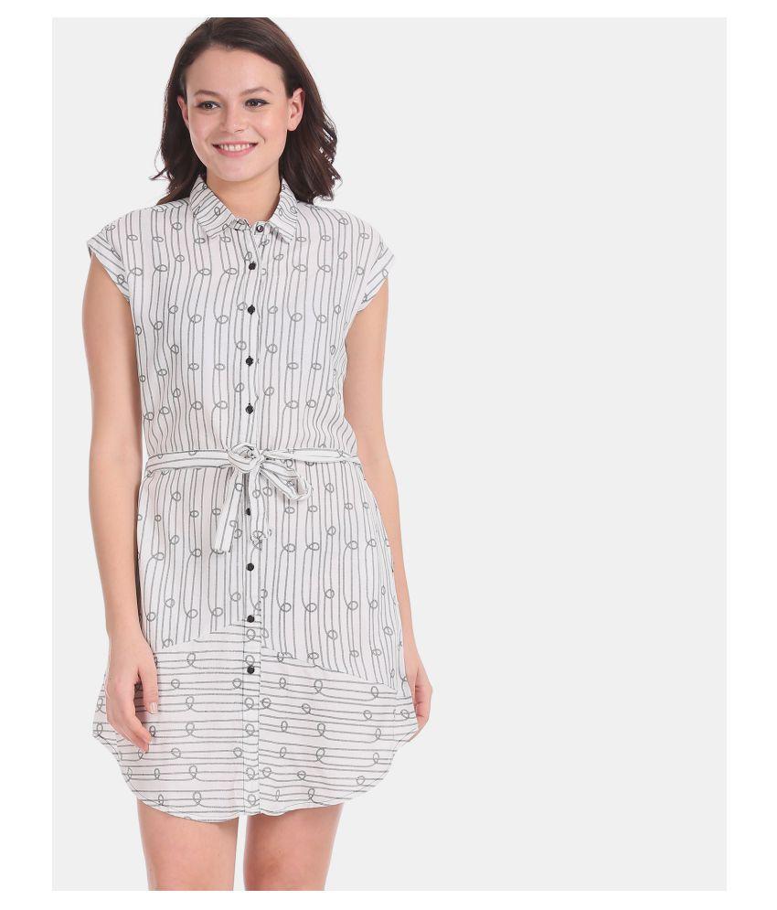 Cherokee Rayon White Regular Dress