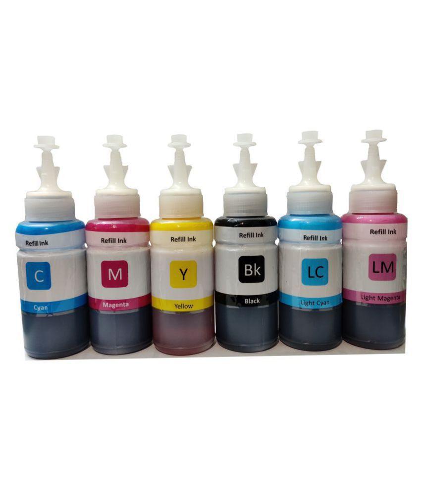 REFILL INK Epson T673 Printer Multicolor Pack of 6 Ink bottle for Compatible L1800,L805,L800,L810,L850