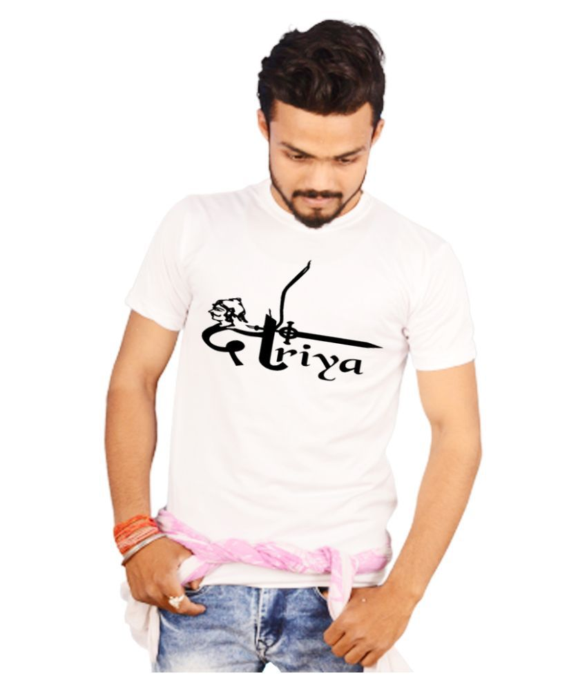 Spotean Polyester White Printed T-Shirt