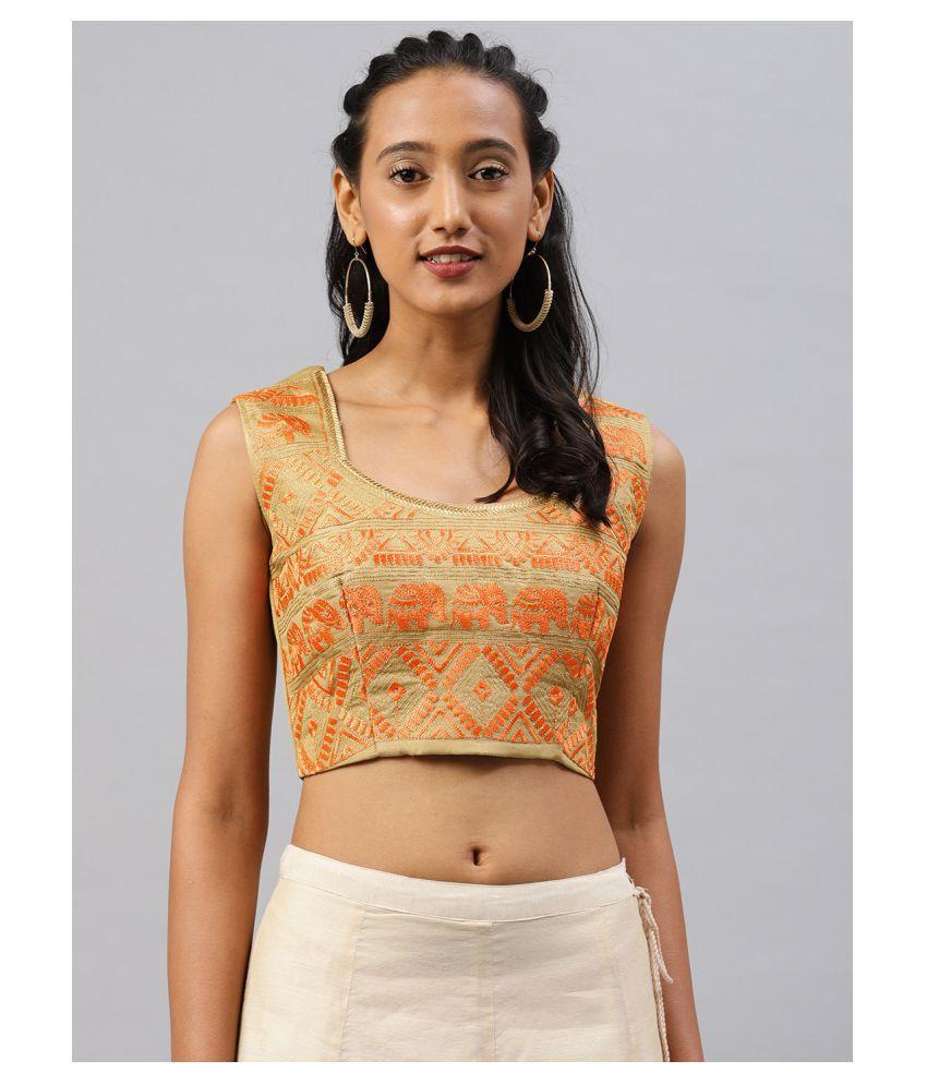 Aarrah Gold Art Silk Readymade with Pad Blouse