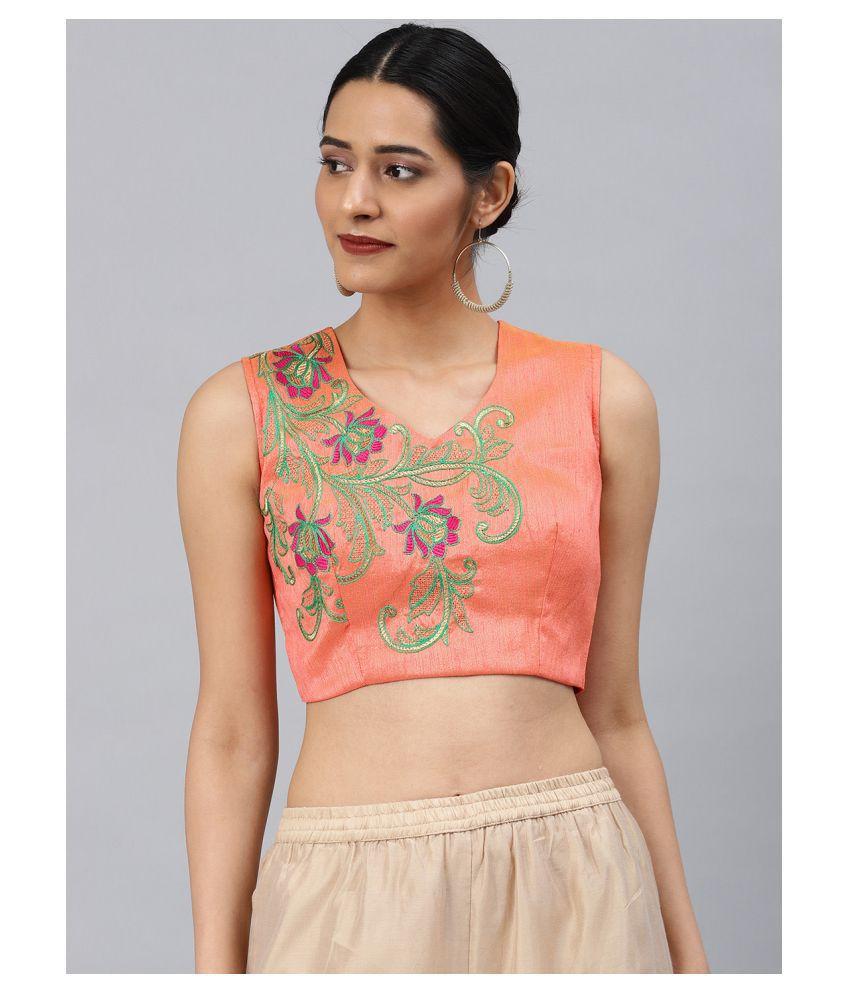 Aarrah Peach Art Silk Readymade with Pad Blouse