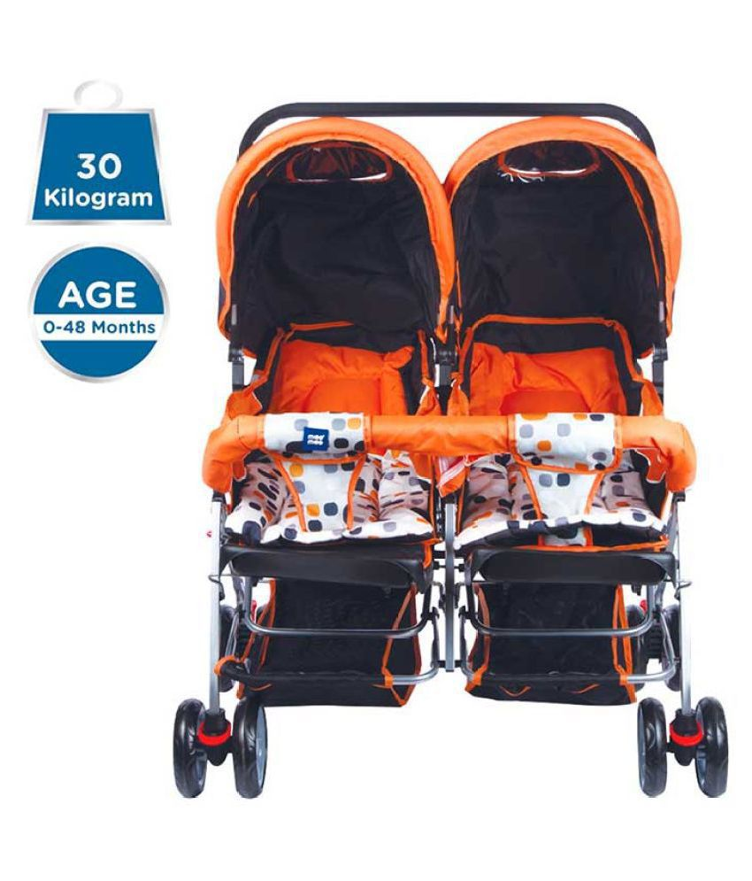 Mee Mee Comfortable Twin Baby Pram with 3 seating position (Orange)