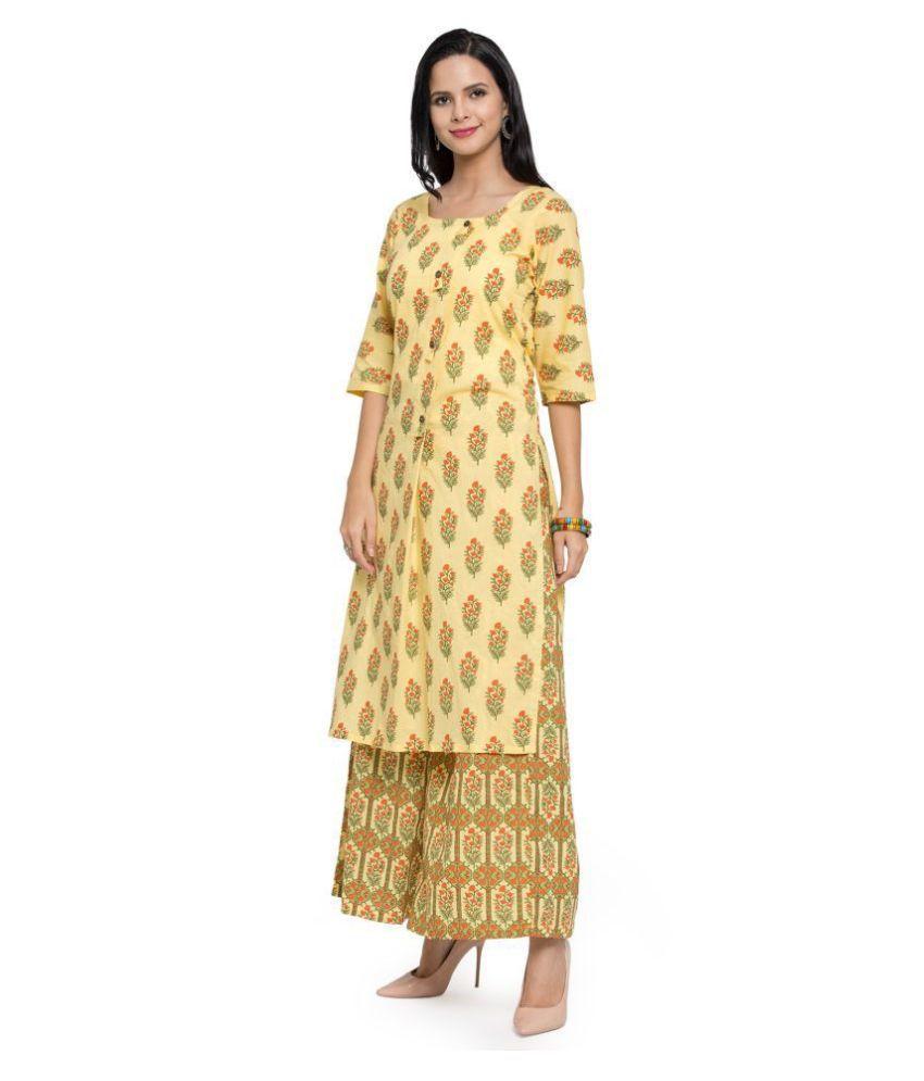AARSHA Yellow Cotton Straight Kurti