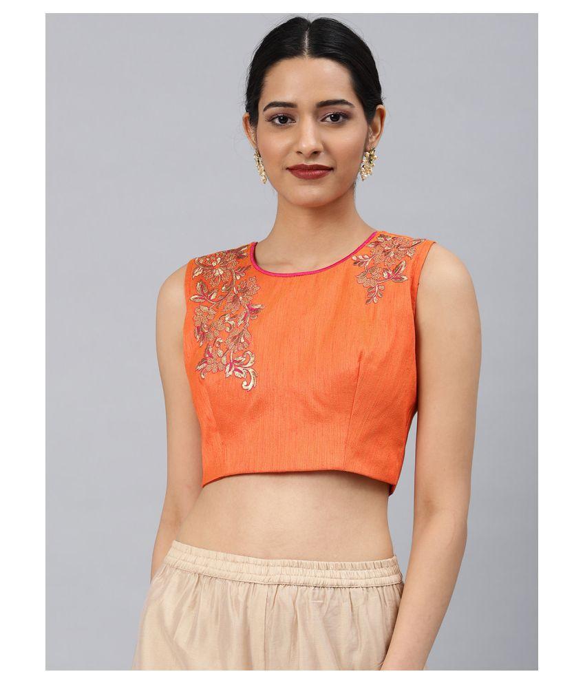 Aarrah Orange Art Silk Readymade with Pad Blouse