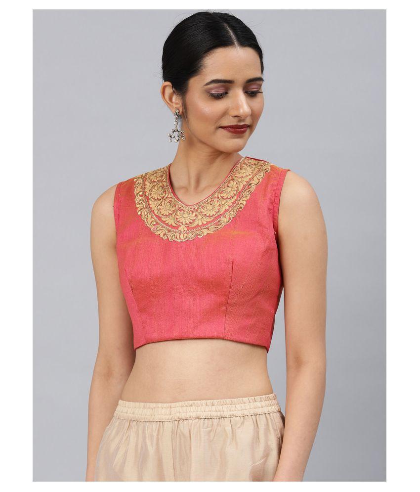 Aarrah Pink Art Silk Readymade with Pad Blouse