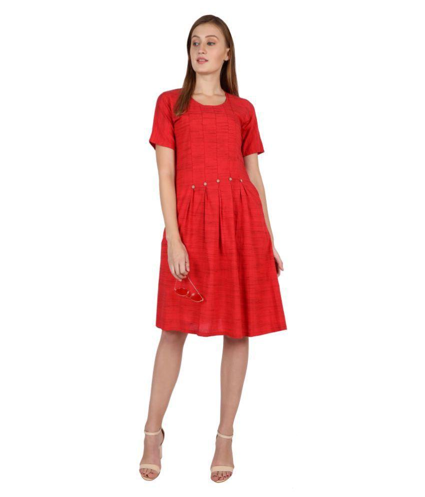Leofab Cotton Red Skater Dress