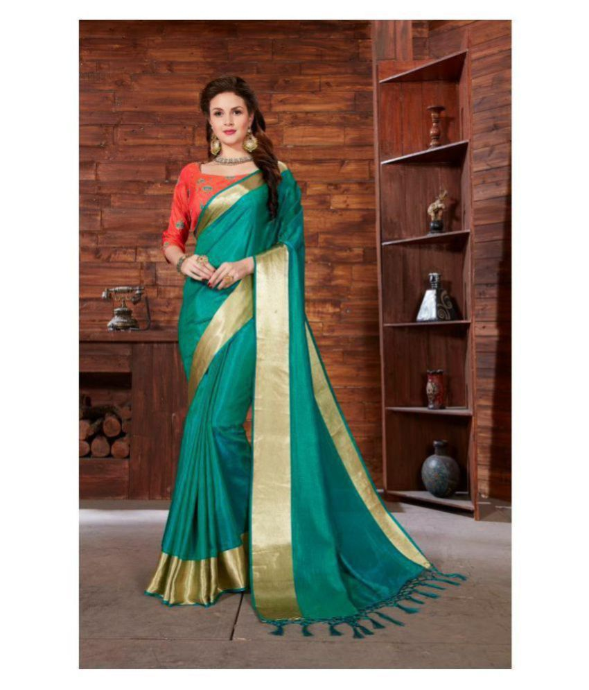 Onlinefayda Green Silk Saree