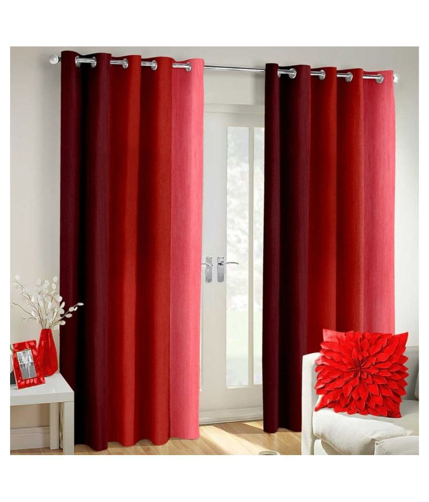 Homefab India Set of 2 Long Door Blackout Room Darkening Eyelet Polyester Curtains Maroon