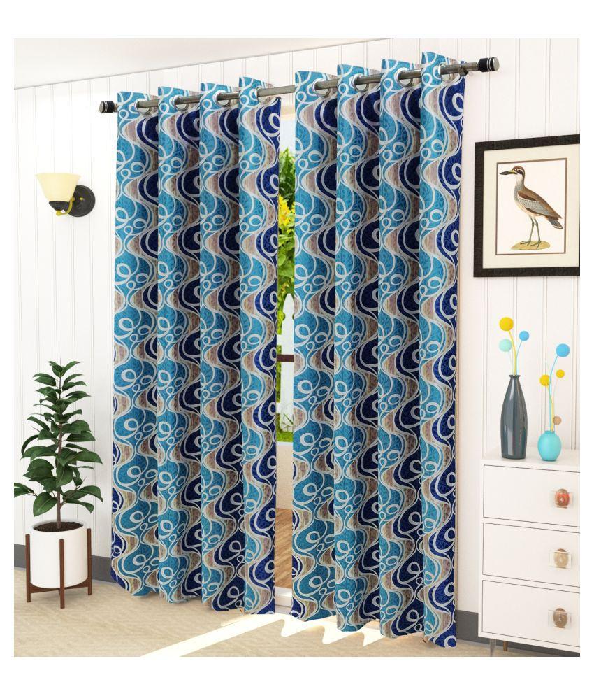 Homefab India Set of 2 Long Door Blackout Room Darkening Eyelet Polyester Curtains Blue