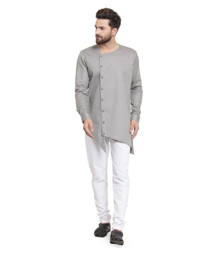 RG Designers Medium Grey Cotton Kurta Pyjama Set