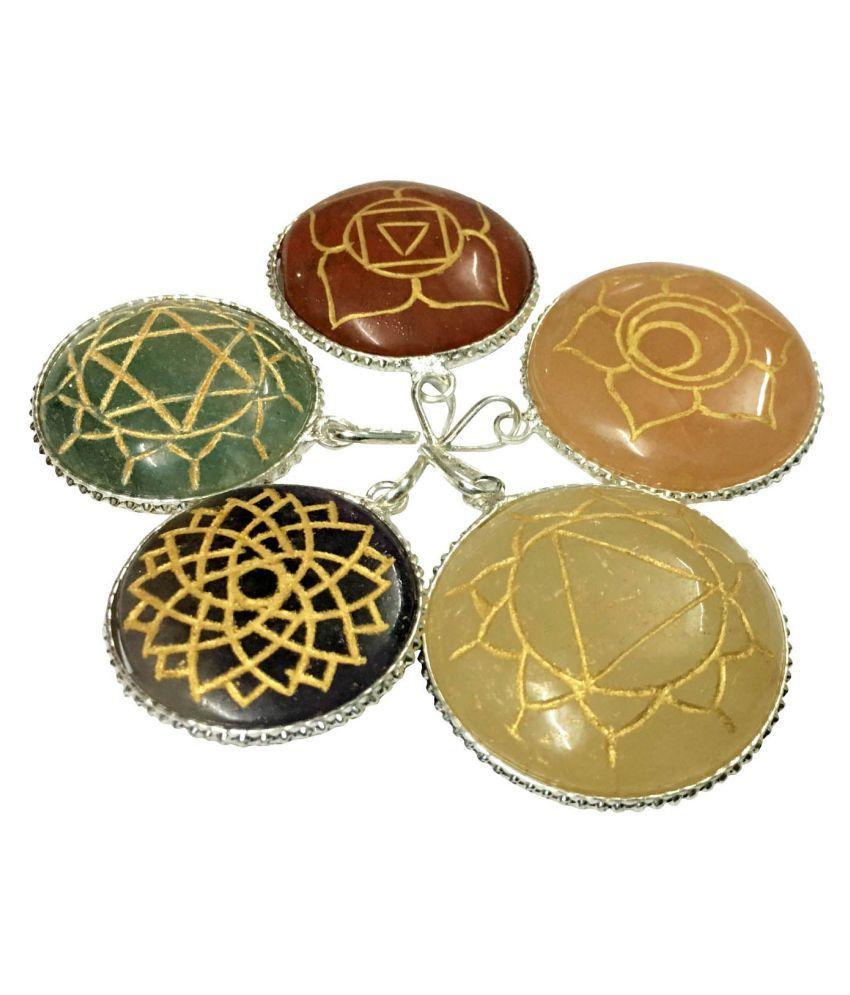 Satyamani Natural Energised Reiki Symbol Round Pendant Set of 5 pcs.