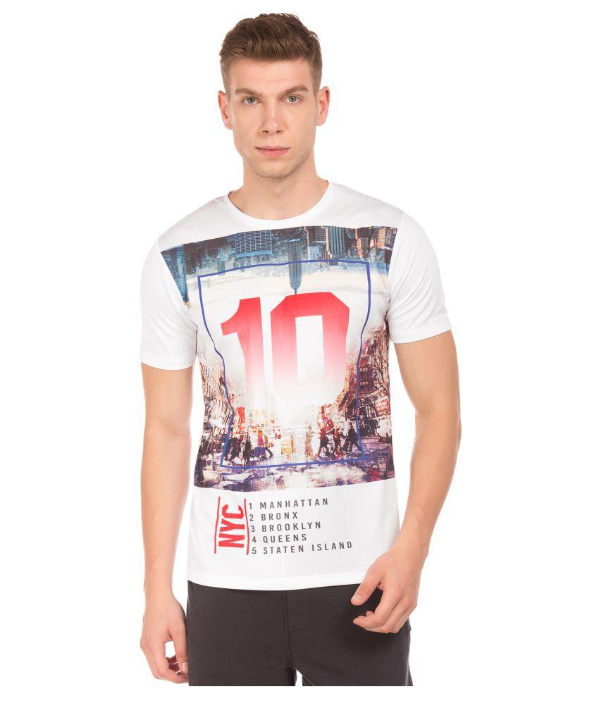 Colt Polyester White Printed T-Shirt