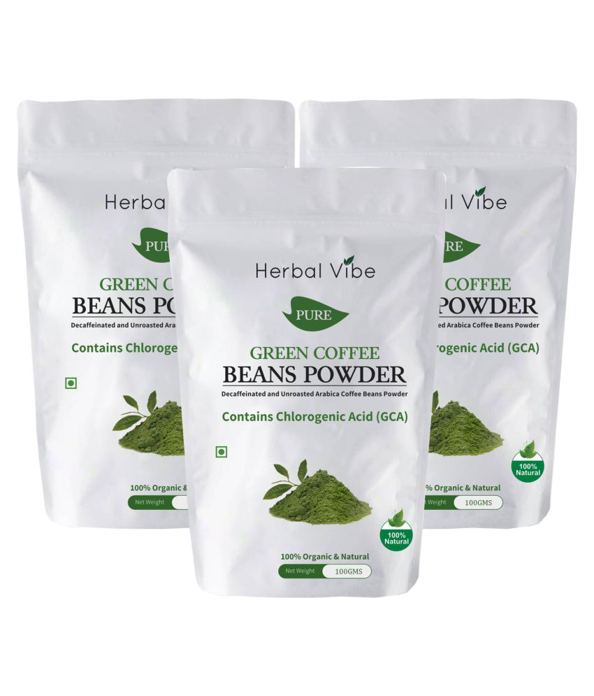 Herbal Vibe Green Coffee Beans Powder for Weight Loss 300 gm Unflavoured Pack of 3