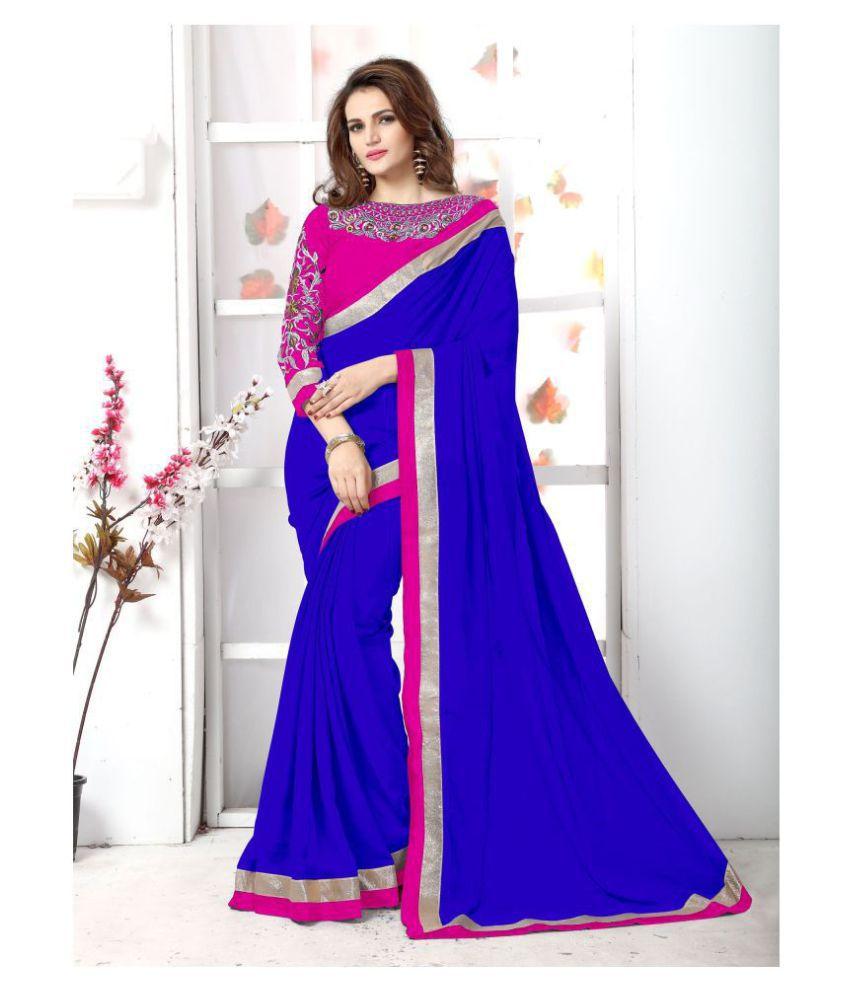 Onlinefayda Pink,Blue Chiffon Saree