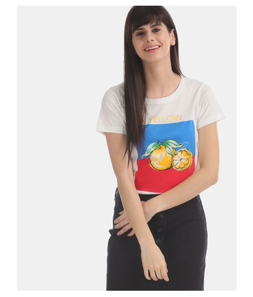 Sugr Cotton White T-Shirts