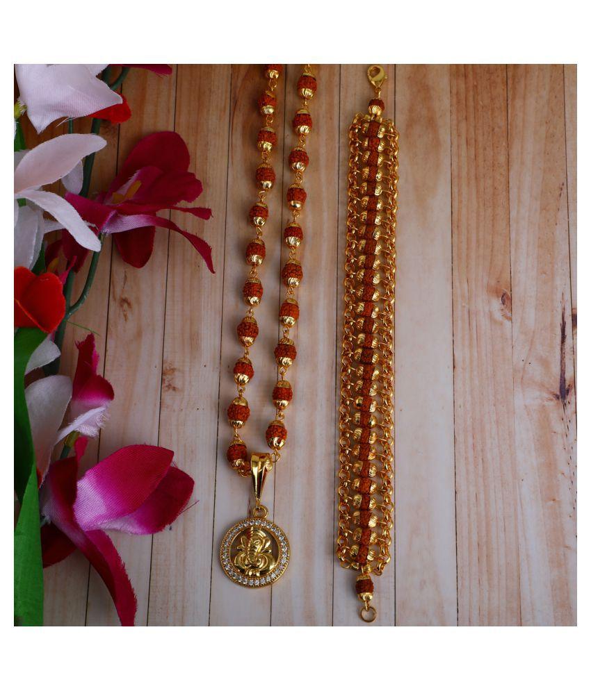 DIPALI GANPATI Locket With Puchmukhi Rudraksha Mala AND BRACELET Gold-plated Brass,FOR MEN AND BOYS