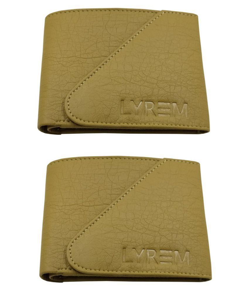 LYREM Faux Leather Beige Fashion Regular Wallet