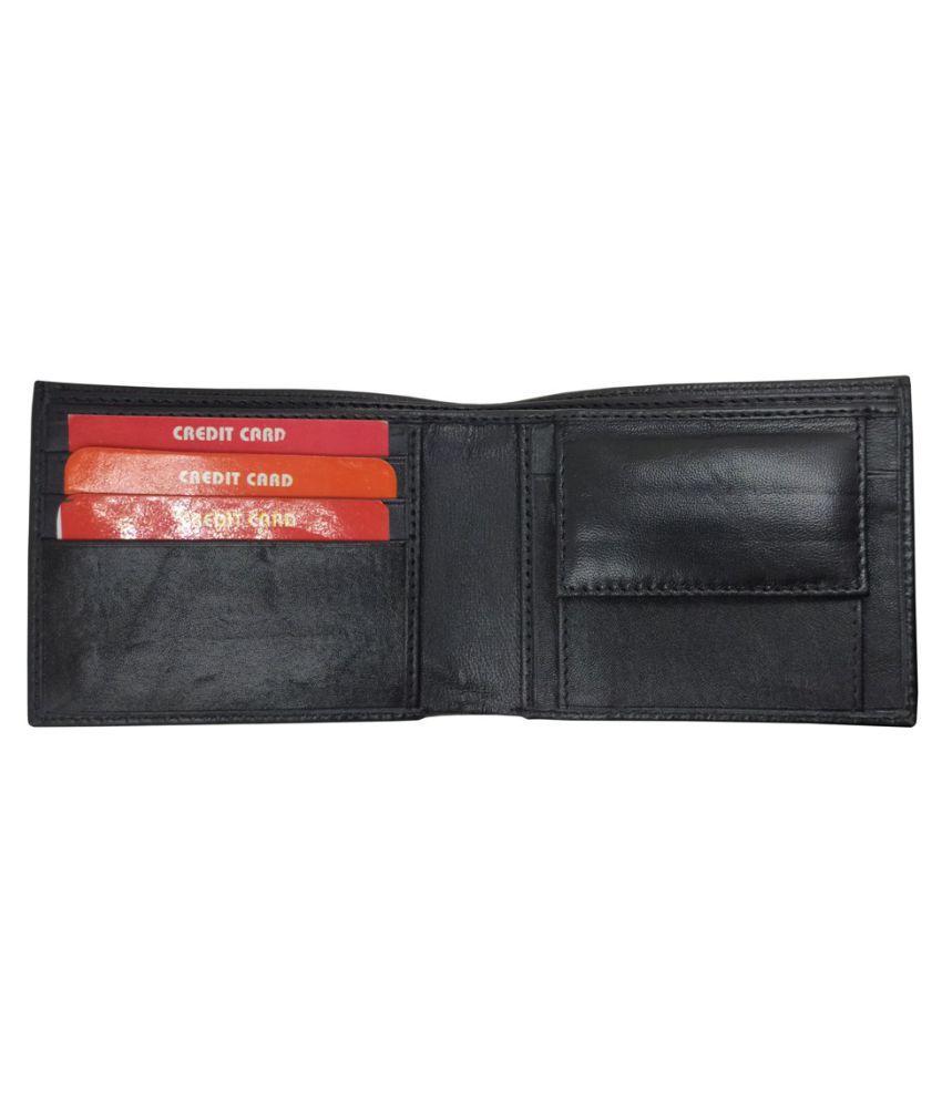 LYREM Leather Black Formal Regular Wallet