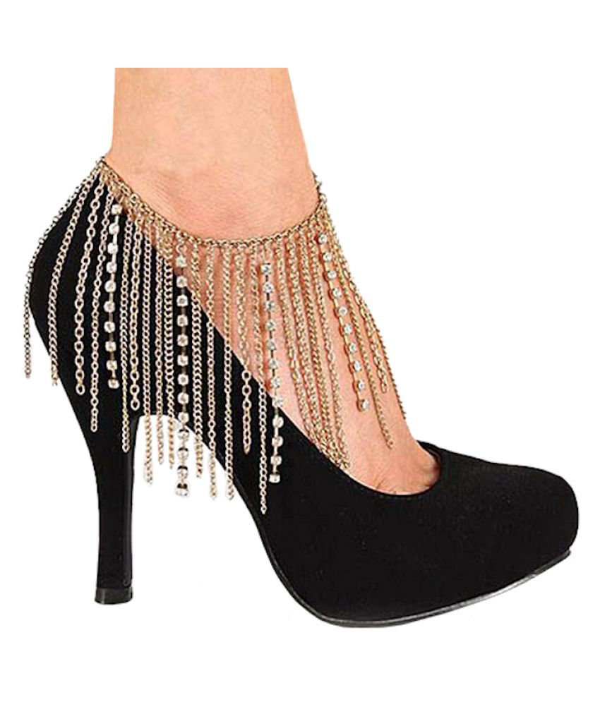 Multi Chain Rhinestone Heel Anklet