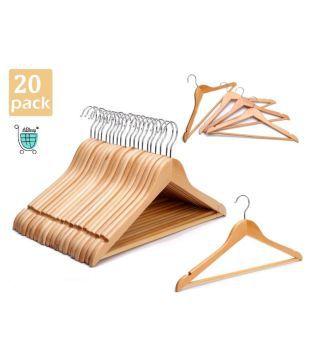 Solid Wood Coat Hanger W// Cut Notches High-Grade Wooden Suit Hangers 20 Pack